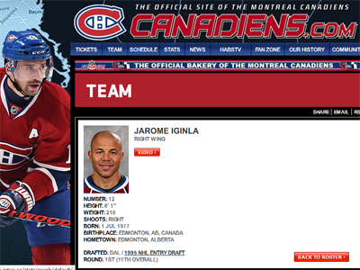 Iginla to Montreal Canadiens?  Screenshot makes you wonder...